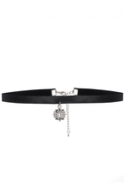 Quiz Black Faux Leather Jewel Choker