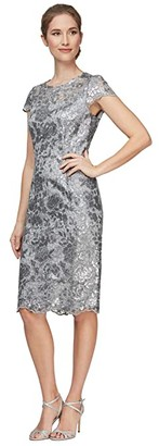 Alex Evenings Short Embroidered Cap Sleeve Dress (Silver) Women's Dress