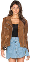 Understated Leather x REVOLVE Western Suede Moto Jacket in Tan. - size L (also in M,S,XS)