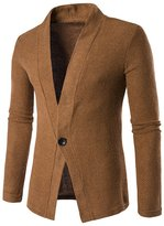 Whatlees Mens Casual Long Sleeve One Button Designer Solid Wool Blend Slim Fit Outwear Cardigan -M