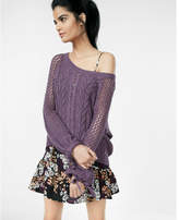 Express open stitch balloon sleeve pullover sweater