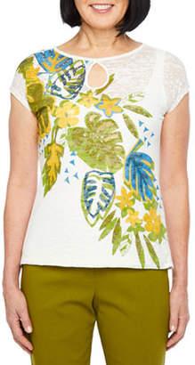 Hearts Of Palm Global Soul-Womens Keyhole Neck Short Sleeve T-Shirt