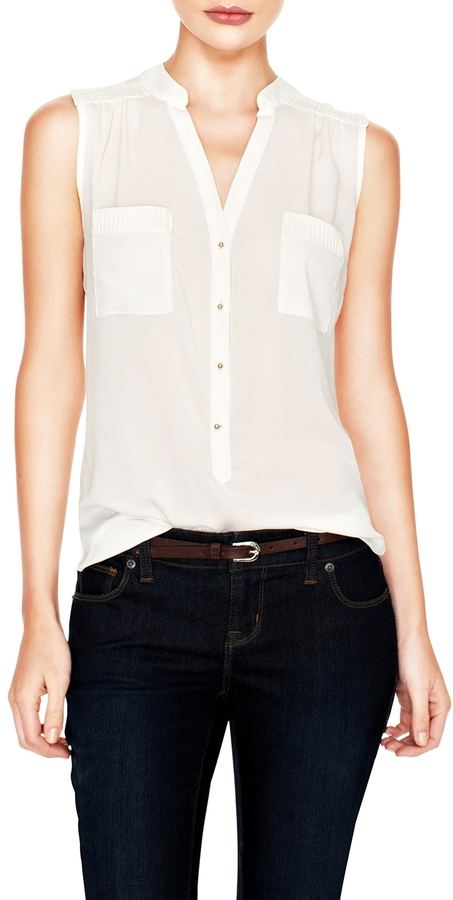The Limited Pintucked Sleeveless Top
