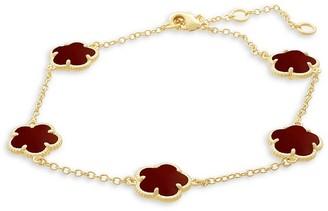 Jan Kou Floral 14K Goldplated & Coral Agate Station Bracelet