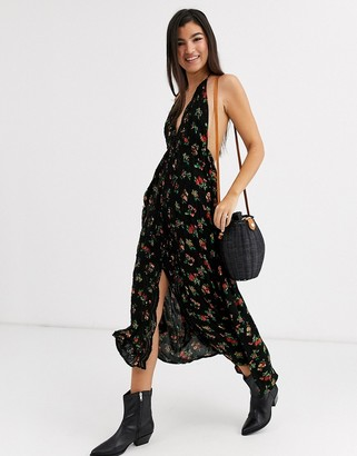 Free People Venice floral print halterneck maxi dress