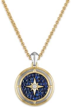 "Esquire Men's Jewelry Men's 2-3/8 Carat Sapphire and Diamond Accent Pendant 22"" Chain in 14k gold over sterling silver"
