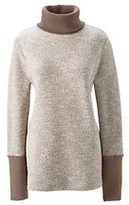 Lands' End Women's Petite Starfish Slouchy Turtleneck-Vicuna Heather