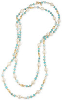 Carolee Gold-Tone Imitation Pearl and Blue Beaded Long Length Necklace
