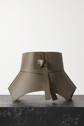 Loewe Obi Leather Waist Belt - Army green
