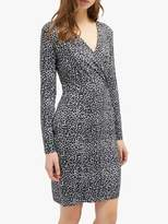 French Connection Leopard Frill Neck Dress, Grey/Leopard