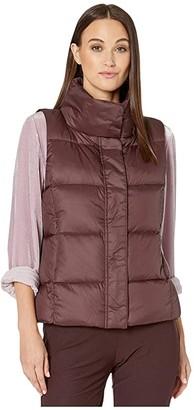 Eileen Fisher Eggshell Recycled Nylon Funnel Neck Vest (Cassis) Women's Clothing