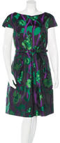 Oscar de la Renta Belted Silk Dress