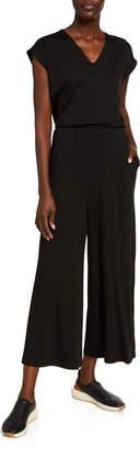 Eileen Fisher V-Neck Short-Sleeve Jersey Crop Jumpsuit