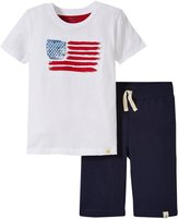 Burt's Bees Baby American Flag Tee & Shorts (Toddler/Kid) - Cloud - 3T