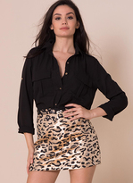 Missy Empire Trixy Gold Metallic Leopard Print Mini Skirt