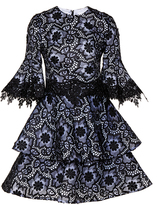 Costarellos Embroidered Organza Flared Sleeve Dress
