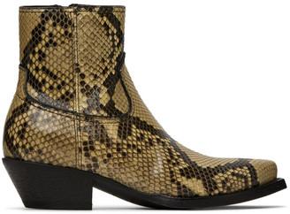 Saint Laurent Tan and Black Python Lukas Boots