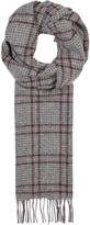 Johnstons Of Elgin Grey Windowpane Cashmere Scarf