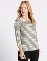 Marks and Spencer PETITE Striped 3/4 Sleeve T-Shirt
