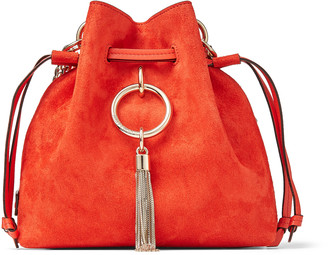 Jimmy Choo CALLIE DRAWSTRING/S Mandarin Red Suede Bucket Bag with Chain Strap