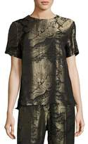 Etro Floral Lamé Jacquard Short-Sleeve Top, Black