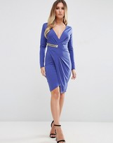 Jessica Wright Long Sleeve Wrap Front Dress With Gold Buckle Detail