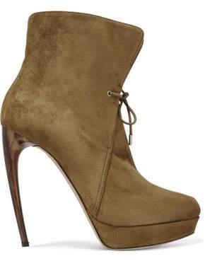 Alexander McQueen Suede Platform Ankle Boots