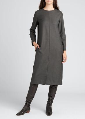 The Row Serena Wool Long-Sleeve Dress w/ Pockets