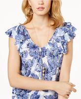 INC International Concepts I.n.c. Petite Printed Flutter-Sleeve Top, Created for Macy's