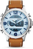 Fossil Nate Analog-Digital Tan Leather Watch