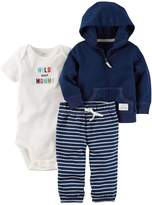 """Carter's Baby Boy Wild About Mommy"""" Bodysuit, Hooded Cardigan & Striped Pants Set"""