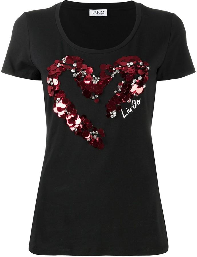 Liu Jo heart sequin-embellished T-shirt