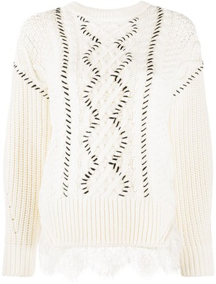 Self-Portrait Cable Knit Jumper With Lace And Whipstitch Detail