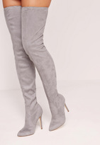 Missguided Grey Faux Suede Pointed Toe Over The Knee Heeled Boots