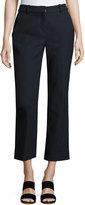 Rebecca Taylor Slub Cropped Straight-Leg Suiting Pants, Navy