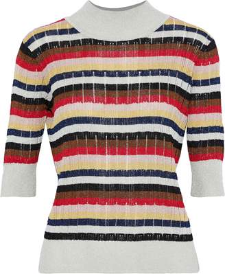 Sonia Rykiel Striped Ribbed Lurex Top