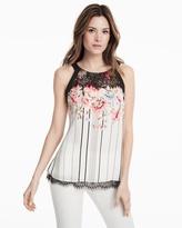 White House Black Market Lace Trim Floral Camisole
