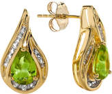 JCPenney FINE JEWELRY Pear-Shaped Genuine Peridot and Lab-Created White Sapphire Earrings