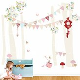 """Oopsy Daisy Fine Art For Kids Birch Tree Forest Vintage Girl Peel and Place, Neutral/Pastel/Pink, 54"""" x 60"""""""