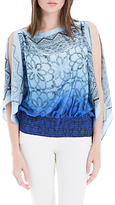 Max Studio Printed Handkerchief Top, Blue