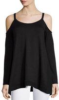 Ella Moss Cold-Shoulder Long-Sleeve Top, Black
