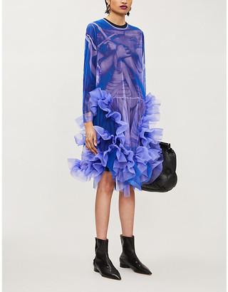 Roberts Wood Graphic-print silk-tulle midi dress