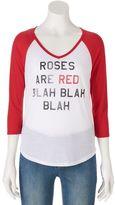 "Juniors' ""Roses Are Red"" Raglan Graphic Tee"