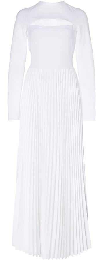 A.W.A.K.E. Mode Cutout Plissé Maxi Dress