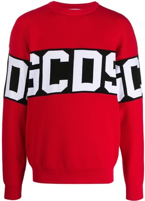 GCDS Long Sleeve Block Color Logo Sweater