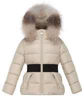 Moncler Aimee Hooded Fur-Trim Puffer Coat, Champagne, Size 8-14