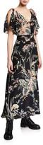RED Valentino Long Floral-Print V-Neck Tie-Shoulder Dress