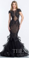Terani Couture Ruffled Mermaid Skirt Evening Dress