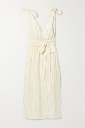 Mara Hoffman Calypso Belted Striped Linen And Tencel Lyocell-blend Midi Dress - Neutral