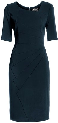 Rumour London Amelie Dark Cyan Knee Length Dress With Asymmetrical Neckline